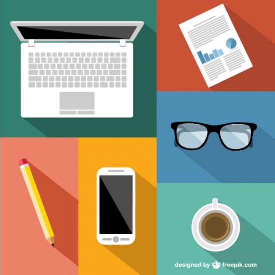 Офисные элементы: ноутбук, карандаш, очки, графики в векторе.
