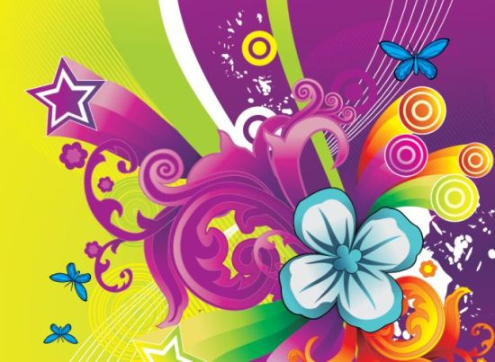фон, цветочный дизайн, звезды, бабочки, в векторе, EPS