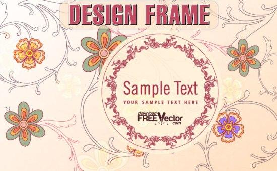 Круглая ретро рамка с цветами в векторе