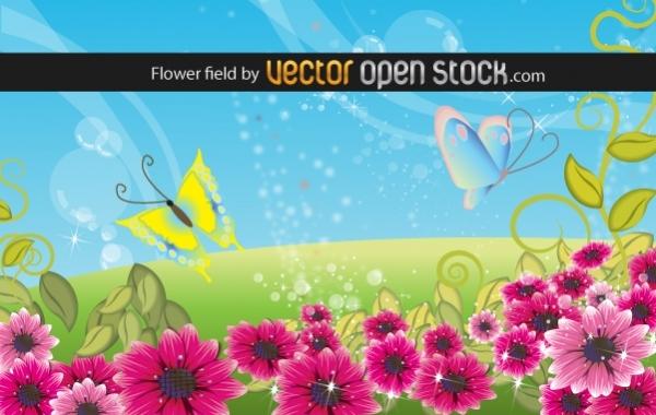 цветы, поляна, лето, бабочки,  фон в векторе,  AI