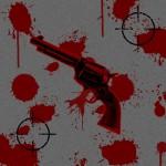 Убийство, кровь, пистолет, мишень, асфальт. Картинка высокого разрешения.