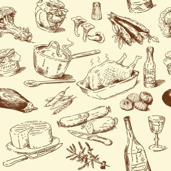 Рисунки карандашом еды в векторе.