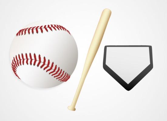 Бейсбол. Бита и мяч на белом фоне. Рисунок в векторе.