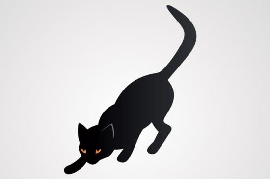 Рисунок черной кошки в векторе