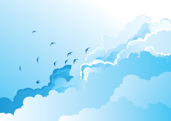 Голубое небо с птицами и облаками. Векторный рисунок.