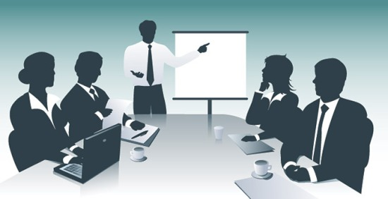 Деловая встреча, презентация. Векторное изображение.