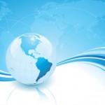 Голубой фон с планетой Земля. Бизнес фон в векторе.