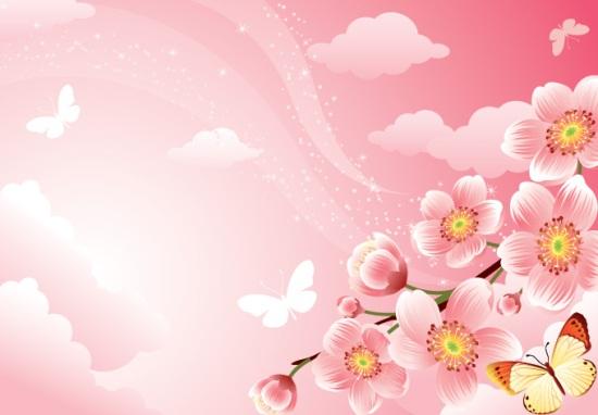 фон, красивый фон, красота, цветы, бабочки, вишни, нежный, цветочные , цветочный фон, розовый фон, цветок, цветы, весенний фон, свет, природа, небо, весна, в векторе, EPS