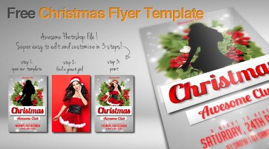 листовка, шаблон, скачать, psd, фотошоп, рождество, Новый год