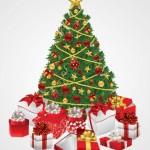 Рождественская елка с подарками в векторе. Открытка.