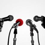 Пресс конференция, микрофоны. Векторное изображение.