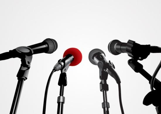 микрофоны, пресса, пресс конференция, векторное изображение, EPS