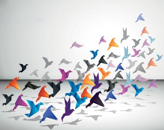 Летящие бумажные птицы. Оригами в векторе.