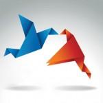 Бумажные птицы, оригами. Поцелуй. Векторное изображение.