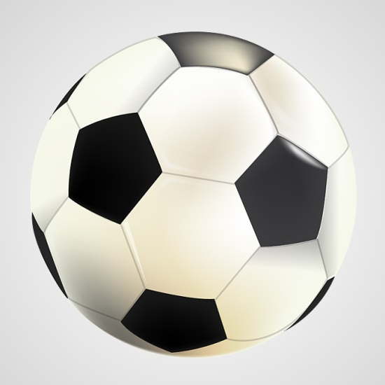 Рисунок футбольного мяча на белом фоне в векторе