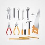 Инструменты:  гаечный ключ, плоскогубцы, молоток, отвертка, ножовка в векторе