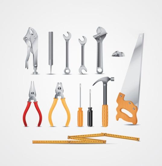 векторный гаечный ключ, плоскогубцы, молоток, линейка, отвертка, ножовка, инструменты, в векторе