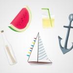 Векторный рисунок на тему лета. Якорь, арбуз, лимонад.