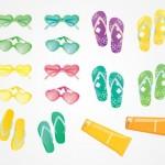 Пляж, туризм, солнечные очки, крем в векторе