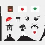 Векторные иконки, клипарт Токио, Япония. Силуэты, вектор, черно- белые рисунки.