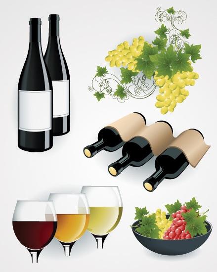 греческая,французская, итальянская, средиземноморская кухня,виноград, белое вино, красное виномиски, фужеры, бокалы, бутылки,вектор,EPS формат, на белом фоне