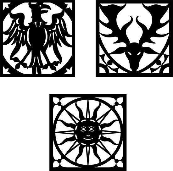 Силуэты, трафареты головы оленя, орла, солнца в векторе.