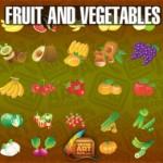 Овощи и фрукты в векторе