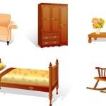 Мебель в векторе. Кровать, шкаф, кресло.