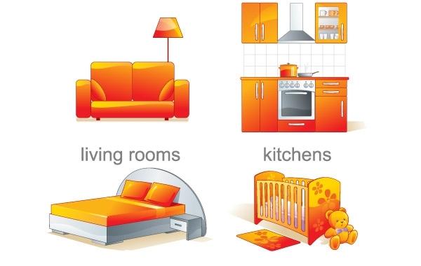 Мебель для квартиры в векторе.
