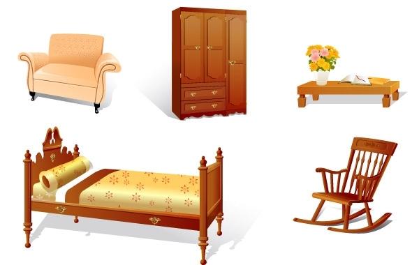 мебель, кровать, шкаф, кресло, столик, кресло - качалка, рисунок в векторе, формат AI