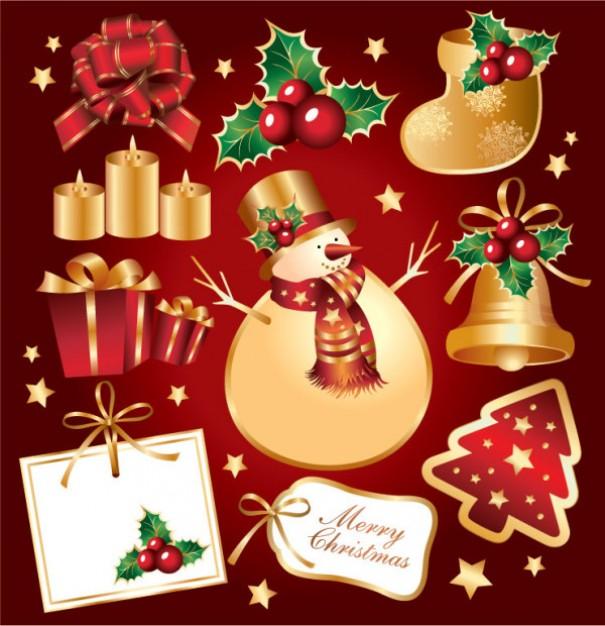 Золотые элементы Рождества и Нового года в векторе.