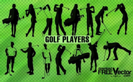 Игра в гольф. Силуэты в векторе.