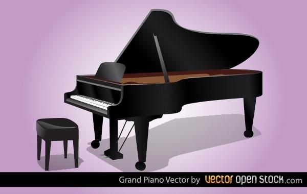Открытый рояль в векторе