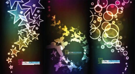 темный фон, звезды, круги, бабочки, звезда в векторе, EPS