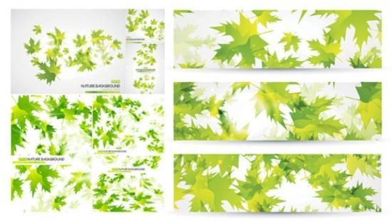 Фон, баннеры зеленые листья в векторе