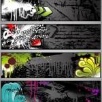 Темные векторные гранж баннеры