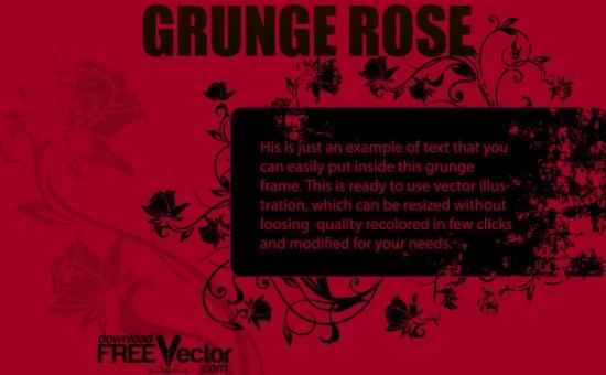 Черно - красный шаблон гранж рамки с розами. Вектор.