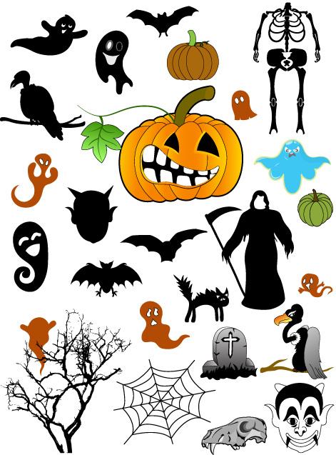 Хэллоуин кисти, изображения фигур, PNG, векторный клипарт,привидения, Хэллоуин, тыква, смерть с косой, паутина, гриф, кошка