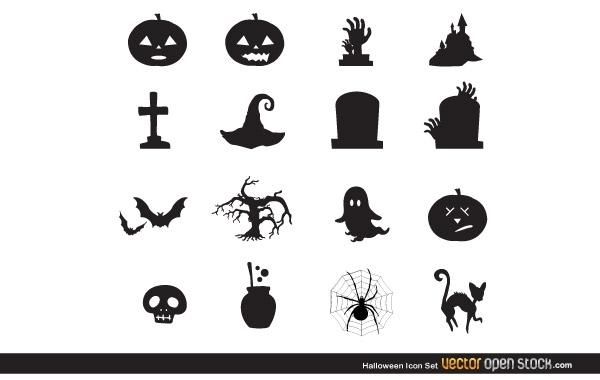 Черно - белые иконки Хэллоуин. Кошка, паутина.