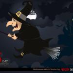 Ведьма на метле в векторе