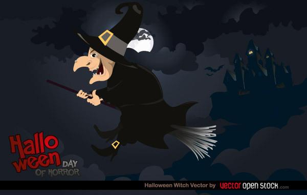 ведьма, Хэллоуин, ведьма летящая на метле, в векторе, AI
