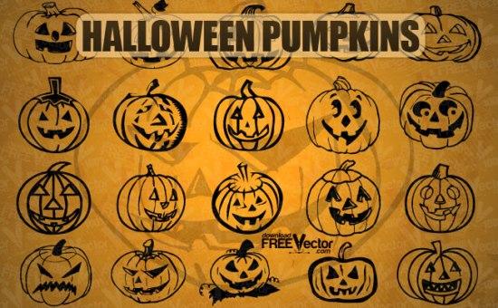 Контурный рисунок тыквы для  Хэллоуин в векторе