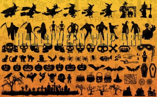Клипарт Хэллоуин в векторе. Силуэты. Трафареты.