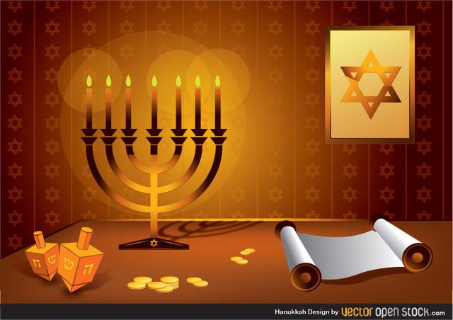 Ханука, еврейский праздник, свечи, звезда Давида, рисунок в векторе,  AI