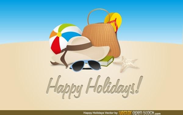 пляжный отдых, надувной мяч, солнцезащитные очки, шляпа, любимая книга, счастливых выходных, рисунок в векторе, AI
