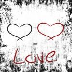 Гранж открытка Любовь. Рисунки сердечек. PSD исходник фотошоп.