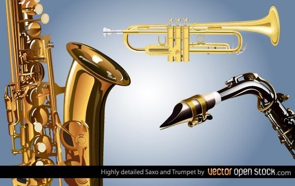 Музыкальные инструменты: труба, саксофон в векторе