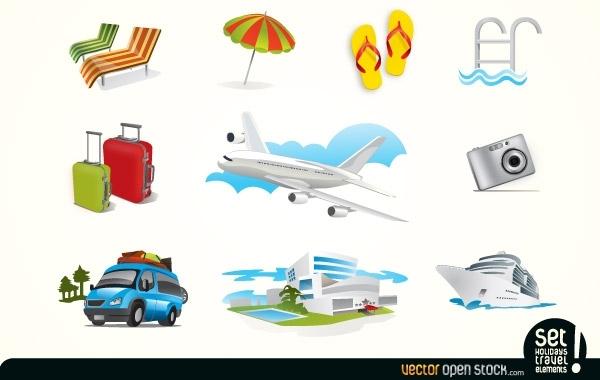 Иконки туризм и отдых в векторе