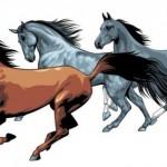Векторные кони на белом фоне. Рисунок.