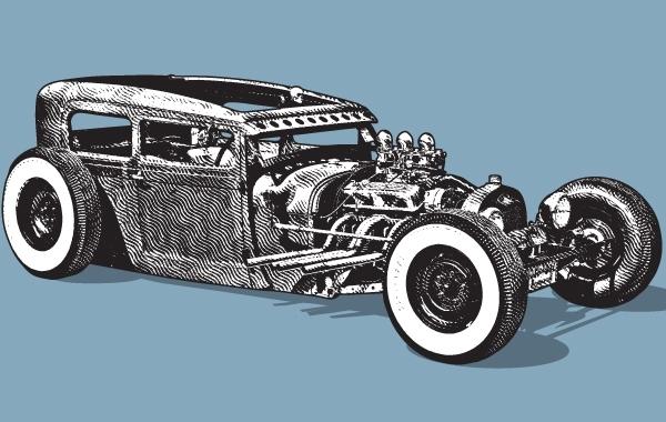 Ретро автомобиль в векторе